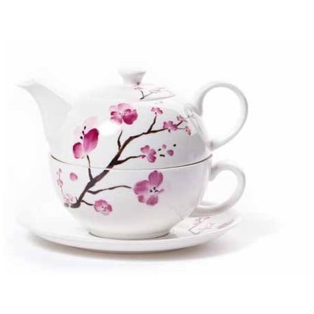 Tetera solitaria flores de cerezo porcelana