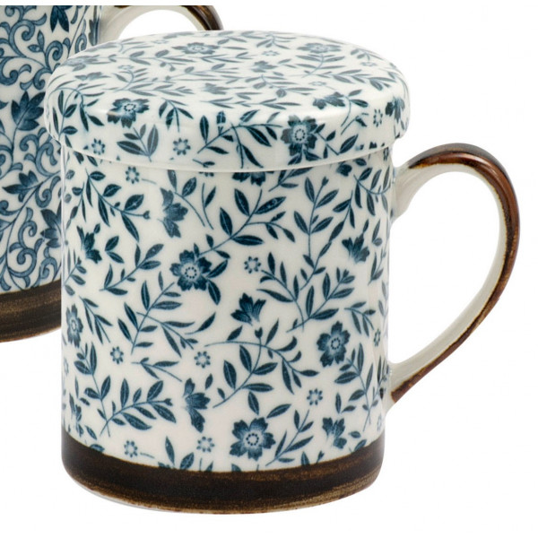 Tisanière Japonaise Motifs Fleuris Bleu