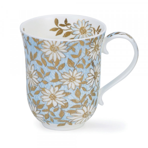 Mug Dunoon Fleurs or et bleu