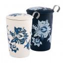Tisanière blanche motifs fleuris - Compagnie Anglaise des Thés