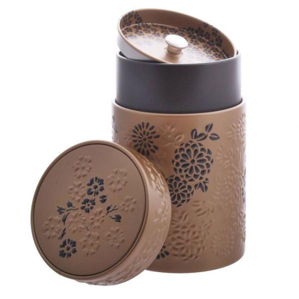 Boîte cylindrique Marron clair avec relief - Compagnie Anglaise des Thés