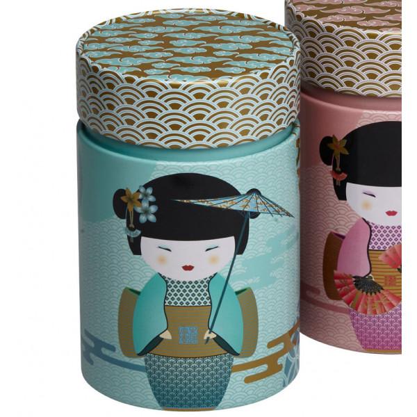 Boîte cylindrique Geisha bleue - Compagnie Anglaise des Thés