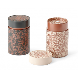 Boîte Cylindrique Rosace beige - Compagnie Anglaise des Thés